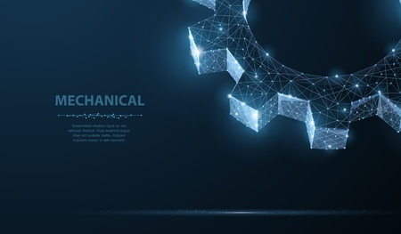 Gears. Abstract vector wireframe two gear 3d modern illustration on dark blue background. Mechanical technology machine engineering symbol. Industry development, engine work, business solution concept Иллюстрация