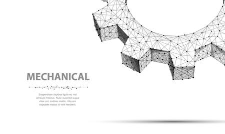 Engrenages. Closeup abstract vector wireframe deux vitesses. Illustration 3D isolée sur blanc. Machine de technologie mécanique, développement de l'industrie, travail de moteur, solution d'entreprise, concept de travail d'équipe, arrière-plan Vecteurs