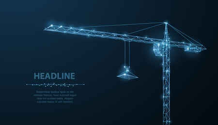 Crune. Abstract vector wireframe crune on dark blue background. Industry construction, site building, architecture engineering, business development, build technology concept illustration