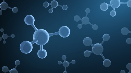 Molecule. Abstract futuristic micro molecule structure with sphere on blue background. Science, research, chemistry, biotechnology, medical concept illustration or background