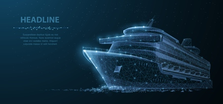 Ship. Abstract vector luxury ruise liner ship on dark blue night sky background with dots, stars. Recreation, ocean travel, comfort relax, success symbol. Sea tourism, holyday vacation concept