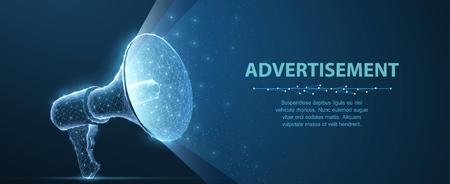 Bullhorn. Abstract vector 3d megaphone on blue background. Communication, announcement message, shout speech, warning alert concept.
