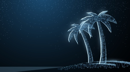 Abstract wire low poy palm nature summer beach silhouette illustration on dark blue background with stars. Illustration