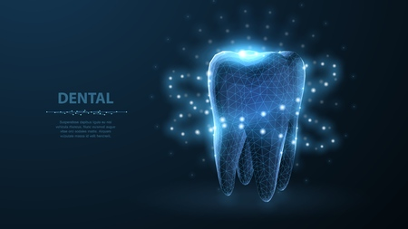 Tooth. Abstract low poly shine bright tooth illustration. Blue background and stars.