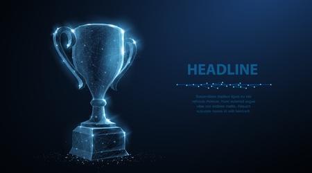 Trofee beker. Abstract vector 3d trofee geïsoleerd op blauwe achtergrond. Champions award, sport overwinning, winnaar prijs concept. Competitiesucces, eerste plaats, beste overwinning, symbool van de vieringsceremonie. Vector Illustratie