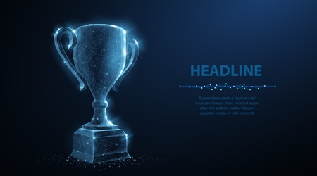 Trophy cup. Abstract vector 3d trophy isolated on blue background. Champions award, sport victory, winner prize concept. Competition success, first place, best win, celebration ceremony symbol. Imagens - 123673578