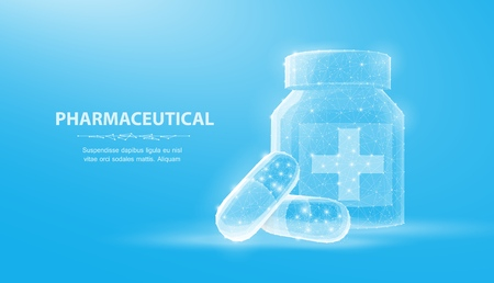 Pills. Abstract 3d illustration two capsule pills near bottle isolated on blue background.
