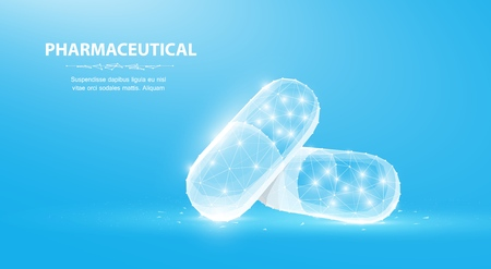 Pills. Abstract 3d polygonal wireframe two capsule pills on blue background with dots and stars. 矢量图像