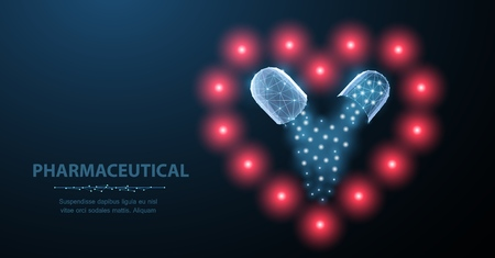 Medicine for the heart. Abstract polygonal wireframe two capsule pills on heart symbol on blue. Medical antibiotic, health pharmacy, vitamin pharmaceutic, treatment concept illustration or background