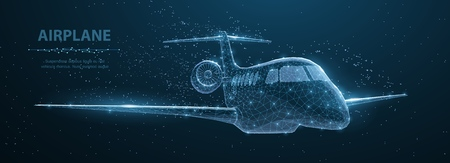 Airplane. Abstract 3d polygonal wireframe airplane on blue night sky with dots and stars. Illustration