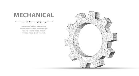 Gear. Closeup abstract vector wireframe one gear. 3d illustration isolated on white background.