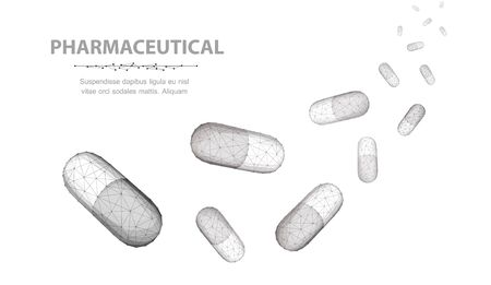 Pills. A lot of capsule pills falling down isolated on white background. Medical pharmacy, health, many vitamin, antibiotic pharmaceutical, treatment concept.