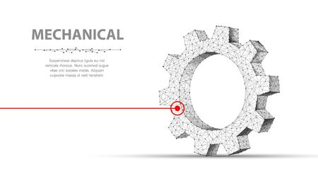 Gears. Abstract 3d vector wireframe single laser gear. 3d illustration isolated on white. Mechanical technology machine Illustration