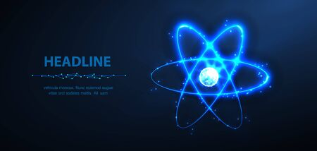 Atom. Abstraktes Vektor 3D-Physik-Molekül-Atom-Modell isoliert auf blau. Vektorgrafik