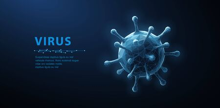 Virus. Abstract vector 3d viral microbe isolated on blue background. Allergy bacteria, medical healthcare, microbiology concept.