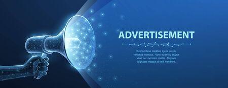 Bullhorn. Abstract 3d megaphone on blue background. Communication, announcement message, shout speech, warning alert concept.