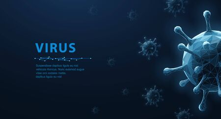 Virus. Abstract vector 3d microbe isolated on blue background. Computer virus, allergy bacteria, medical healthcare, microbiology concept. Disease germ, pathogen organism, infectious micro virology 矢量图像