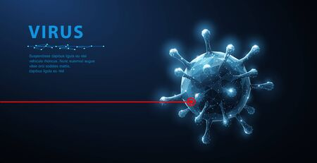 Virus. Abstract vector 3d microbe isolated on blue background. Computer virus, allergy bacteria, medical healthcare, microbiology concept. Disease germ, pathogen organism, infectious micro virology Illustration
