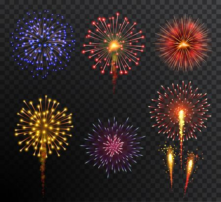 Firework. Set multy-colored new year bright firework explode isolated on transparent background. Holidey, victory, celebration symbol. Festival, anniversary or party decoration