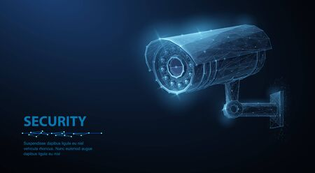 Security camera. Vector low pole illustration. Isolated on blue. Security system, smart home concept Ilustracja