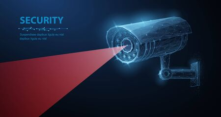 Security camera. Vector low pole illustration. Isolated on blue. Security system, smart home, cctv concept.