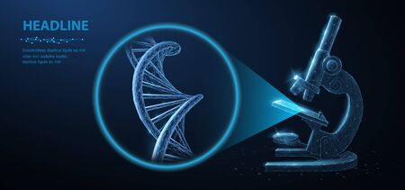Genetic engineering concept. Vector 3d dna molecule helix spiral model and microscope. Illustration