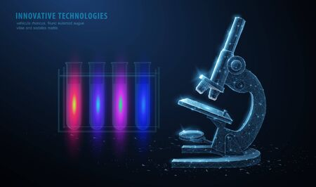 Microscope. Abstract 3d professional school microscope isolated on blue background. Science laboratory, medical equipment concept. 矢量图像