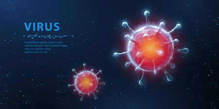 Virus. Abstract vector 3d viral microbe on blue background. Allergy bacteria, medical healthcare, microbiology concept.