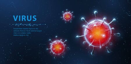 Virus. Abstract 3d viral microbe on blue background. Allergy bacteria, medical healthcare, microbiology concept.