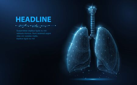 Lung. Abstract vector 3d lungs isolated on blue background. Human health, respiratory system, pneumonia illness, biology science, smoker asthma, healthcare concept.