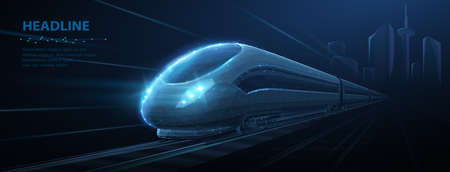 Fast express passenger train on high speed intercity railway moving from city. Futuristic technology. Modern town cityscape. 3d abstract railroad travel concept