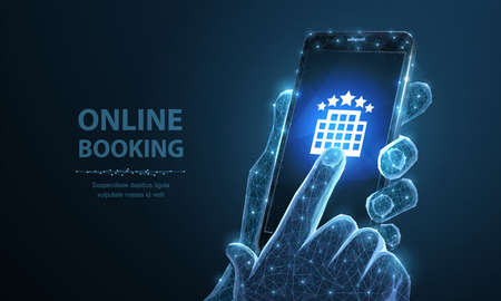 Booking online. Smartphone in man holding hand and finger touching hotel icon. Rent mobile app, apartment search service, room order application, modern tourism concept.