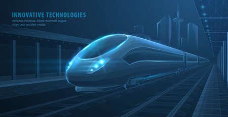 Fast express passenger train on city station. Futuristic technology. Railway station. Future digital urban infrastructure. Modern town cityscape.