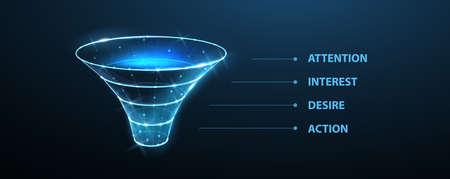 Funnel. Conversion process, data filter, sale strategy, client flow, interest attention desire action, aida, web marketing, sale concept