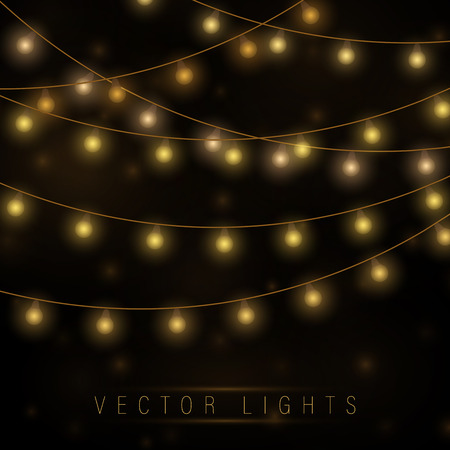 Yellow christmas lights isolated realistic design elements.Christmas lights isolated on transparent background. Xmas glowing garland. Vector illustration. Stock Illustratie