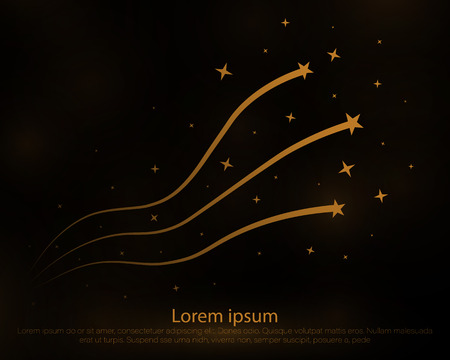 Golden dust elements falling down on black, flying sparkles confetti vertical lines.Star Trail on White Background - Meteoroid, Comet, Asteroid, Stars.