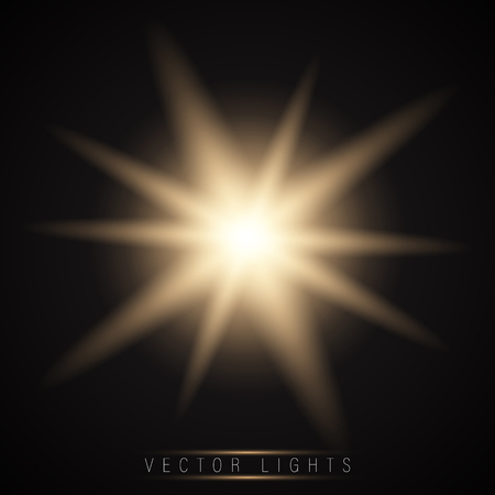 Glow light effect. Star burst with sparkles.Sun.On a dark background transparent. Vector Ilustração