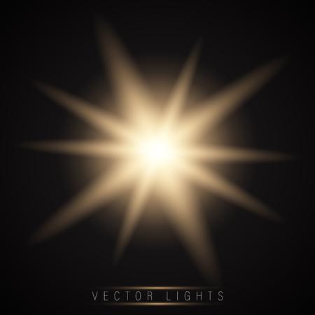 Glow light effect. Star burst with sparkles.Sun.On a dark background transparent. Vector Illustration