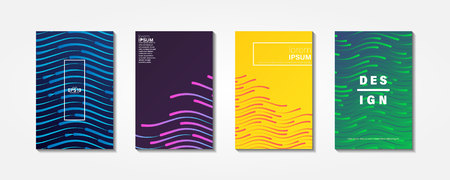 Colourful shiny waves with lines.Minimal covers design,gradients, lines, shapes. Tech cover,futuristic banner, future template,abstract flyer, poster,trendy minimalist brochure.  イラスト・ベクター素材
