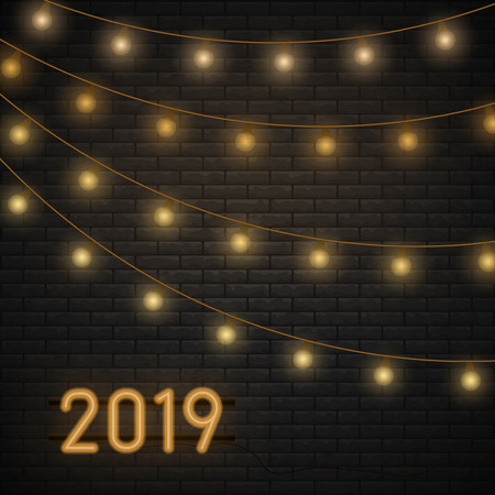 2019 vector background with christmas lights garland. Black brick wall texture vector illustration. Stone block structure brickwall, urban design wallpaper.