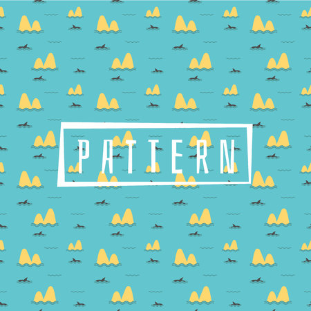 Cute Marine pattern for fabric, baby clothes, background, textile,wrapping paper and other decoration.Vector illustration.Shark Fin Dolphin Ocean Sea Seamless Pattern. Illusztráció