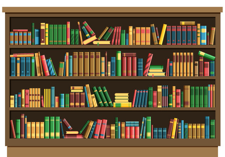 Education library book store concept. Vector illustration seamless pattern background retro bookshelf in flat style.Books on wooden bookshelf. Иллюстрация