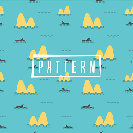 Cute Marine pattern for fabric, baby clothes, background, textile,wrapping paper and other decoration.Vector illustration.Shark Fin Dolphin Ocean Sea Seamless Pattern. Foto de archivo - 106156466