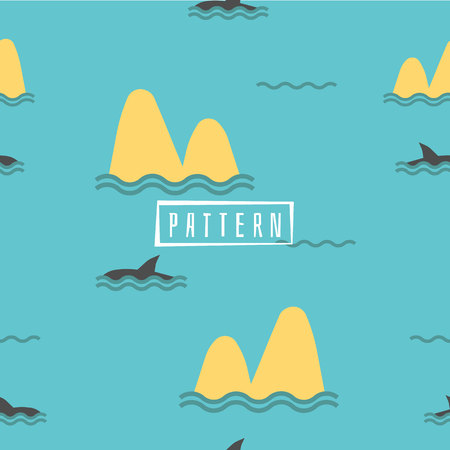 Cute Marine pattern for fabric, baby clothes, background, textile,wrapping paper and other decoration.Vector illustration.Shark Fin Dolphin Ocean Sea Seamless Pattern. Foto de archivo - 106156490