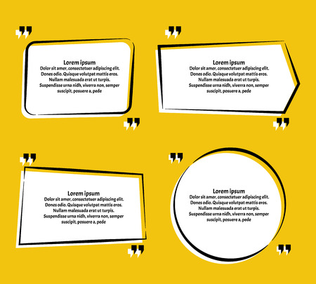 Creative vector banner illustration with a quote in a frame with quotes.Innovative vector quotation template in quotes against the Yellow backdrop.
