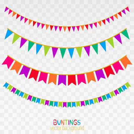 Set of pink patchwork textile bunting flags.Vector bunting background with space for text