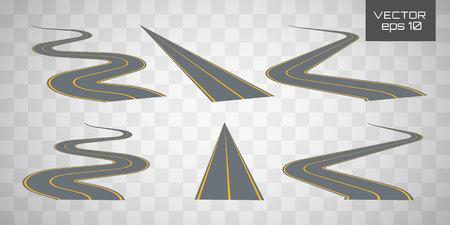 Kręta kręta droga lub autostrada z oznaczeniami. Ustaw zakrzywione trasy.Kierunek, zestaw transportowy. Ścieżka, pierścień, nieskończoność i zakręty.