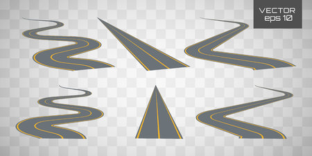 Winding curved road or highway with markings. Set curved routes.Direction, transportation set. Footpath, ring, infinity and turns.