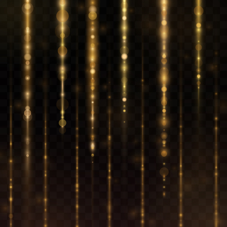 Abstract sparkly gold glitter effect with falling down luminous particles flyer template.Sparkling texture of star dust light sparks magic glitter spray on transparent background.
