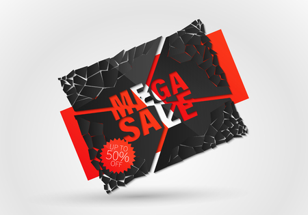 Sale banner template design, Big sale special offer. end of season special offer banner.Vector Banner with explosion effect. Illustration